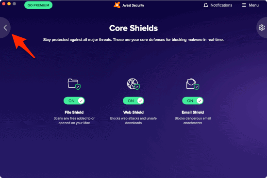 the Avast App screen with all 3 Core Shields enabled