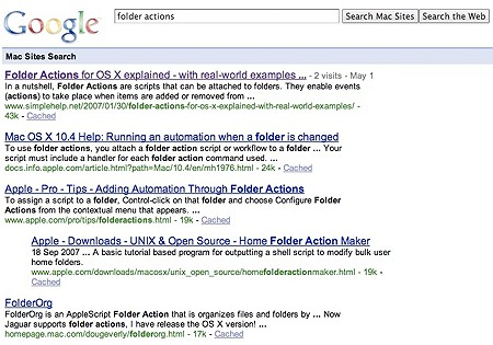 google search results for mac