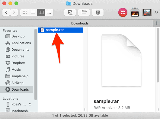 an unopened RAR file in Finder