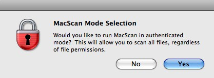 confirm running macscan in authenticated mode