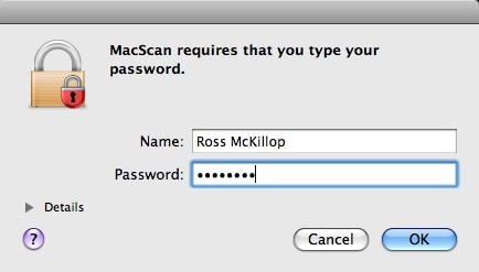 os x password confirmation