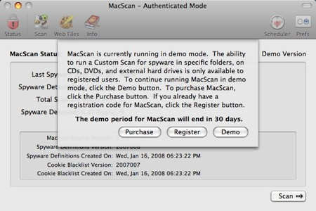 macscan demo message