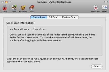 quickscan macscan interface