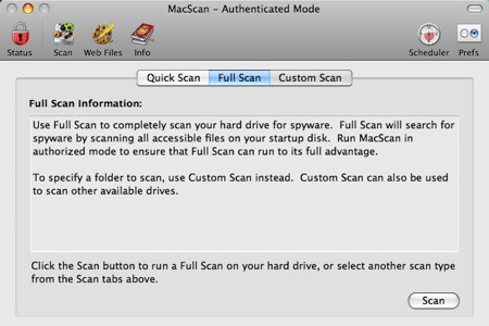 full scan macscan interface