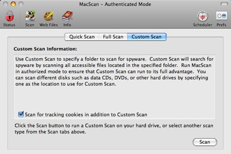 custom scan macscan interface