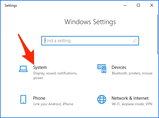 The Windows 10 Settings panel