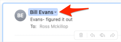 the Name field of an email in Mail for macOS