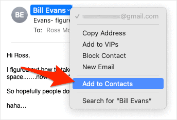 the Add to Contacts item in the Mail context menu