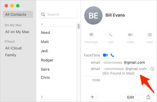 a newly created Contacts entry