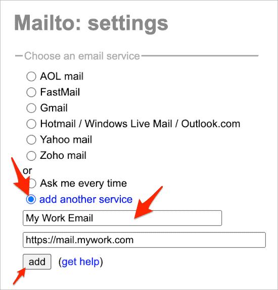 adding a custom default web email app