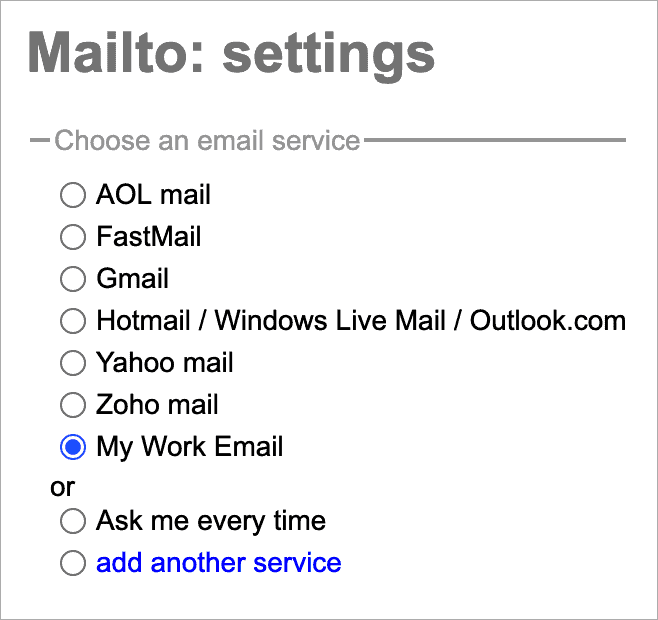 a custom default web email provider in the mailto extension