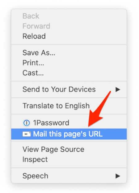 selecting the mailto option from the Chrome right-click contextual menu