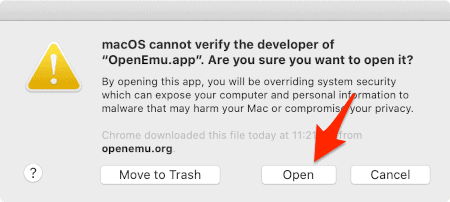 a macOS unverified developer confirmation window