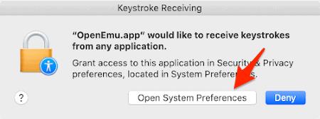 the keystroke receiving permission window in macOS