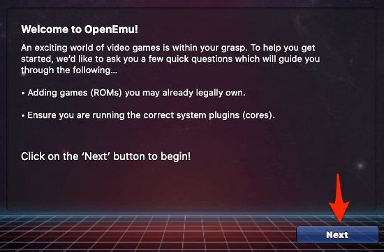 the first screen of the OpenEmu installation wizard