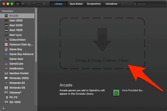 the main OpenEmu window with an arrow pointing to the Drag and Drop Games Here section