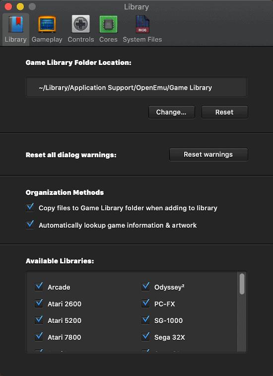 the OpenEmu Preferences window