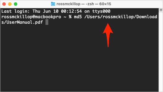 a macOS Terminal with the command to match an md5