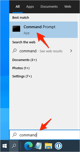 the Windows Search box with the word Command entered into it