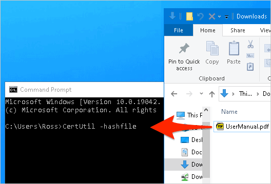 a Windows File Explorer and a Command Prompt window next to each other