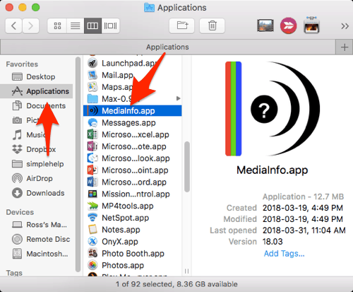 the MediaInfo app in a Finder window