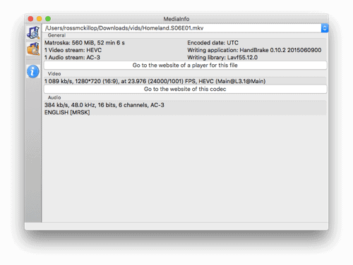 media info displayed nicely in a macOS app