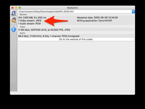 determining the media info for an AVI file in macOS