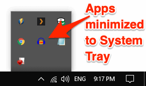 screenshot of multiple Apps in the Windows 10 System Tray Notification Area