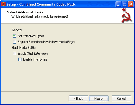 CCCP installer Select Additional Tasks options