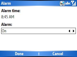 adding an alarm to your windows mobile home screen