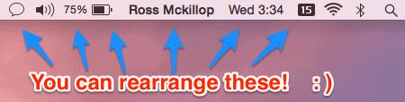 reorganizar iconos en la barra de menú de mac