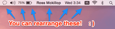 rearranging icons in the mac menu bar