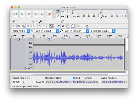 main audacity window with a file open