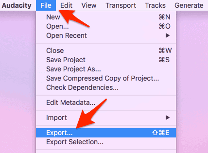 the export option from the audacity file menu