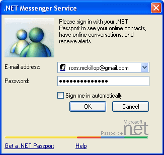 msn messenger sign in window using a non-msn email address