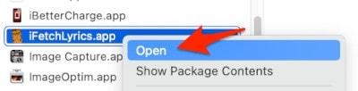 the right-click context menu for a macOS App