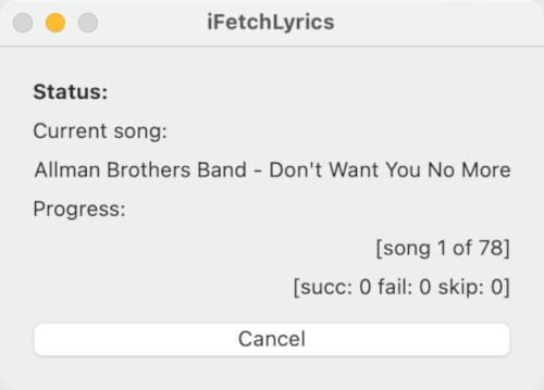 iFetchlyrics starting up