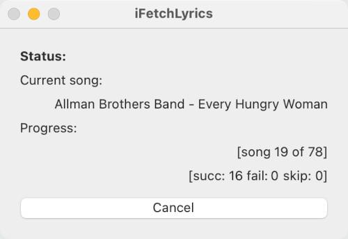 iFetchLyrics grabbing music lyrics for tracks in the Music app macOS