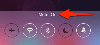 ios control center with mute enabled