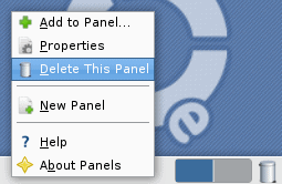 delete a panel in ubuntu