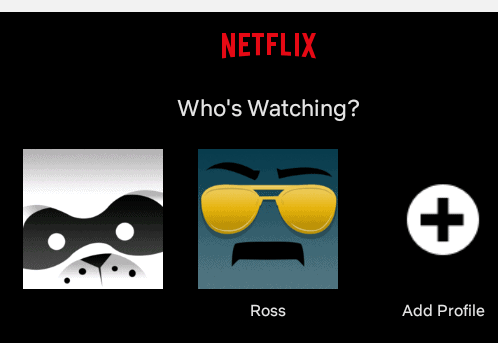the profile selection screen in Netflix