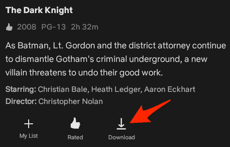 a Netflix movie synopsis with the download button highlighted
