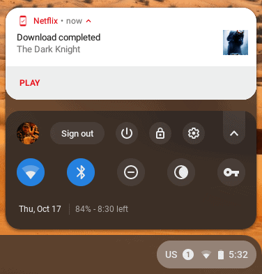 Chrome OS notification of a completed Netflix movie download