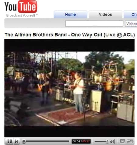 YouTube with Flash enabled the Allman Brothers rule