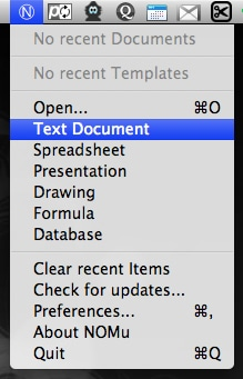 open office documents from the menu bar