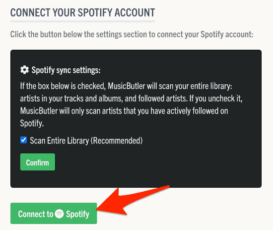 the Music Butler connect to Spotify button