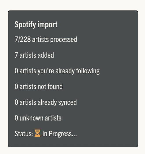 Music Butler importing artists and bands from Spotify