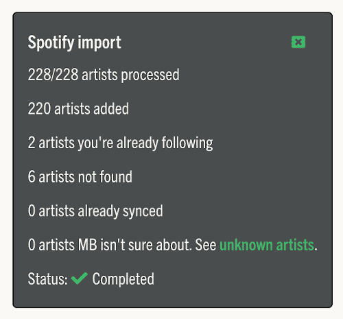 Summary of Music Butler imported artists