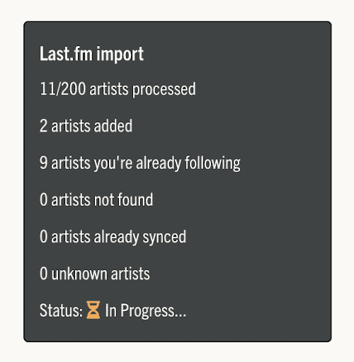 last.fm importing artists to music butler