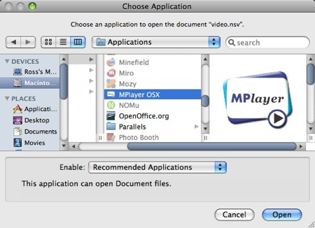 finder displaying mplayer for os x